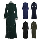 Womens Ladies Open Abaya Outdoor Belted Kaftan Gown Dress Overcoat Pocket Beaded