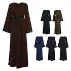Womens Ladies Open Abaya Outdoor Belted Kaftan Gown Dress Overcoat Pocket Waterf
