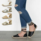 Womens ladies studded double ankle strap wrap around espadrilles sandals size