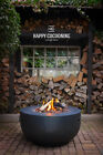 Happy Cocooning Cocoon 35 Inch Bowl Gas Firepit Lava Rocks & Wood in Grey Black