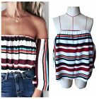 Women Ladies Horizontal Neck Off Shoulder Striped  Casual Blouse Top T-Shirt New