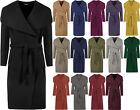 New Womens Long Open Coat Ladies Celebrity Belted Waterfall Draped Trench Jacket