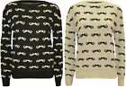 New Womens Moustache Pattern Long Sleeve Top Ladies Sweater Knitted Jumper 8-14