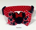 Minnie Mouse Dog Collar With Bow Size XS-L by Doogie Couture