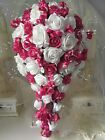 Brides Teardrop Bouquet In Hot Pink and Ivory or White
