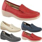 Womens Ladies New Wedge Comfort Flat Slip On Smart Loafers Pumps Shoes Sizes 3-8