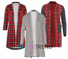 Womens Long Coat Check Plaid Duster Ladies Open Front Sleeves Oversized Blazer