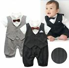 Baby Boy Wedding Christening Formal Tuxedo Suit Outfit Clothes Romper 0-18M
