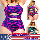 2017 Women's High Waist 2 Piece Plus Size Swimsuit Halter Bandeau Push Up Bikini