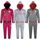 Girls Keep Going Print Tracksuit Jogging Bottoms Hooded Zipped Top 3-14 Y