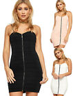 Womens Strappy Bodycon Bandage Bustier Mini Dress Ladies Strappy Sleeveless Zip