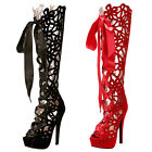 VIC Women High Heels Knee Boot Platform Sandal Strappy Hollow Out Shoes Peep Toe