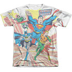 Justice League Heroes COMING AT YOU 1-Sided Big Print Poly Cotton T-Shirt