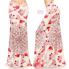 Floral Pink/Off-white high waist fold over maxi long skirt S/M/L/XL