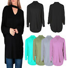 New Womens Ladies Plain Chocker V Neck Baggy Batwing Top Shirt Plus Sizes 8-26
