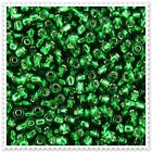 20g - 100g Silver Lined Green Seed beads Size 6/0. 27B