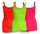 Womens Neon Pink Ribbed Vest Strap Gym Fitness Basic Rib Sports Vest Top Cami