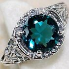 Fashion Women 925 Silver Blue Topaz Ring Wedding Engagement Jewelry Size 6-9