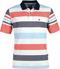 Hajo - Herren Polo Shirt  kurzarm  denim - weiss rot   Piqué - Stay-Fresh