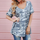 Women Casual V-Neck Short Sleeve Camouflage Summer T Shirt Loose Tops Blouse New