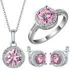 Fashion 925 Silver Pink Sapphire Ring Earrings Necklace Lady Wedding Jewelry Set