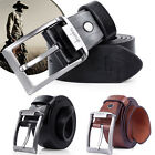 Mens Leather Prong Belt Casual Waist Strap Business Metal Pin Buckle Waistband