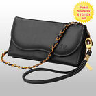 New Luxury Black Wallet Clutch Case Cover For Mobile Smart Phone + Card Pocket