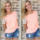 Fashion Women Summer Vest Tops Blouse Casual Tank Top Lace T-Shirt Short Sleeve