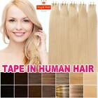 "AAAAA 100% Remy Human Hair Extensions Seamless Tape In skin Weft 16""-22"" Y741"
