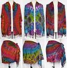Tie Dye RAYON Shawl Scarf Swim Cover Up Short Wrap Sarong with Fringe