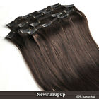 """darkest brown CLIP IN REMY HUMAN HAIR EXTENSIONS 14""""-30"""" Customized accept"""