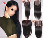 "4""x4"" Silky Straight 100% 8A Brazilian Human Hair Free/Middle/3Part Lace Closure"