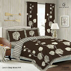 Duvet Cover with Pillow Case Quilt Cover Bedding Set Frilled Edge - SLEEP  BROWN