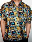 Mens Blue Cream Aztec Palm Tree Floral  Pattern Hawaiian SHIRT 5 SIZES S - 3XL