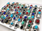 men's women's mix styles antique silver vintage stone rings wholesale lots