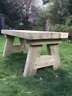 Handmade Solid Wooden Sleeper Garden Table Pub Dining Kitchen
