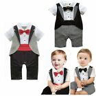 Baby Boy Wedding Christening Tuxedo Party Suit Romper Outfits Clothes Size 00-2
