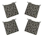 Set of 4 In / Outdoor Black Ornament Scroll Foam Chair Cushions - Choose Size