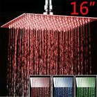 Shower Head 16-Inch LED Chrome Square Rain Sprayer Ultrathin Heads Rotate Faucet