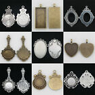 10pcs Antique Silver/Bronze Cameo Cabochon Setting Base Charm Jewellery Pendants