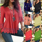 Womens Lady Lace Long Sleeve T Shirt Casual Blouse Pullover Summer Tops Fashion