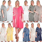 New Womens Stripe Print Side Panel Batwing Sleeve Baggy Dress Plus Size 14 20 24