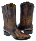 Mens Cognac Rust Brown Python Snake Square Toe Western Leather Cowboy Boots