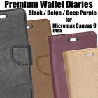 Diary Wallet Type Style Folio Flip Flap Cover Case For Micromax Canvas 6 E485