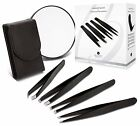 4-Piece Precision Tweezer Set w Luxurious Leather Case & 10x Magnifying Mirror