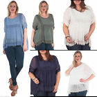 New Womens Floral Embroidery Trendy Panel Lace Casual Top Plus Size 10 16 20