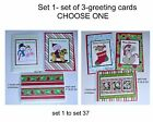 """Set 1-""""Set of 3 assorted cards""""- 4 1/8"""" x 5 3/4"""" each card - Choose One"""
