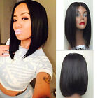 Short Bob Haircuts Natural Black Lace Front Wig Heat Resistant Synthetic Hair