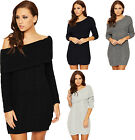 Womens Off Shoulder Knee Length Dress Ladies Long Sleeve Cable Knit Bardot Plain