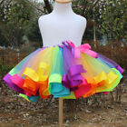 Girls Kids Rainbow Pettiskirt Tutu Skirt Party Ballet Dance Ribbon Mini Dress